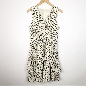 DKNY Ruffle Spotted Dress Brown Cream Animal Print